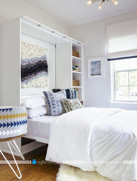 تخت تاشو دیواری دو نفره با طراحی جدید و مدرن قفسه دار. سرویس خواب تاشو دیواری دو نفره برای اتاق عروس.