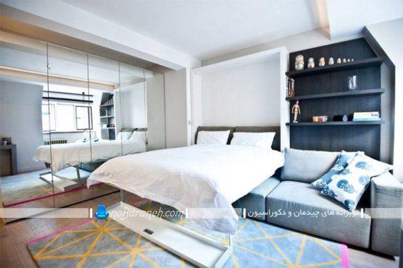 تخت خواب دیواری تاشو کمجا مدرن شیک چوبی، مدل سرویس خواب عروس در مدل کمجا دیواری.