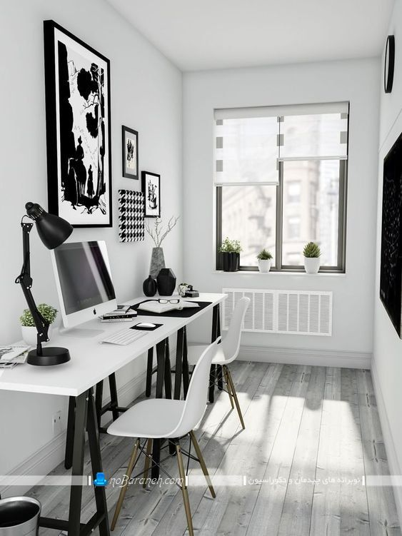 طراحی دکوراسیون اتاق کار اداری با سیاه و سفید