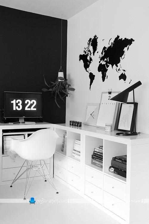 دیزاین اتاق کار خانگی با سیاه و سفید