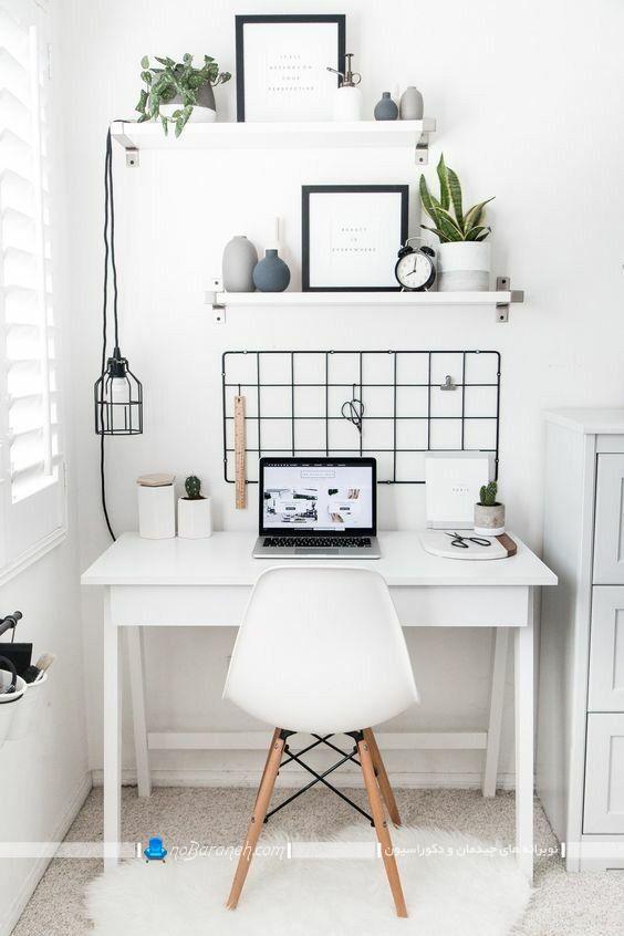 طراحی و دیزاین اتاق کار کوچک خانگی ، میز تحریر کوچک و ارزان قیمت