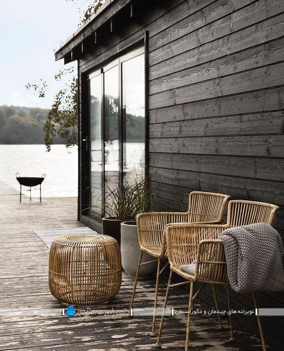 میز و صندلی فضای باز با طرح حصیری ساخته شده از چوب بامبو