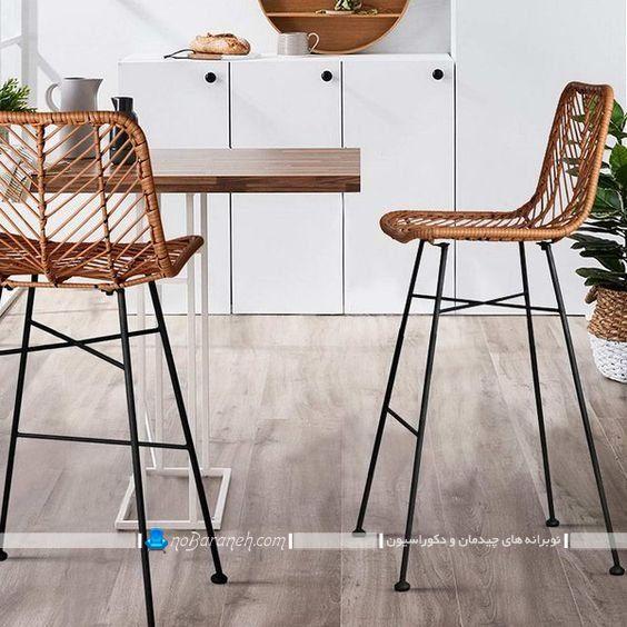 صندلی ناهارخوری ساخته شده با چوب بامبو ، مبل بامبو حصیری