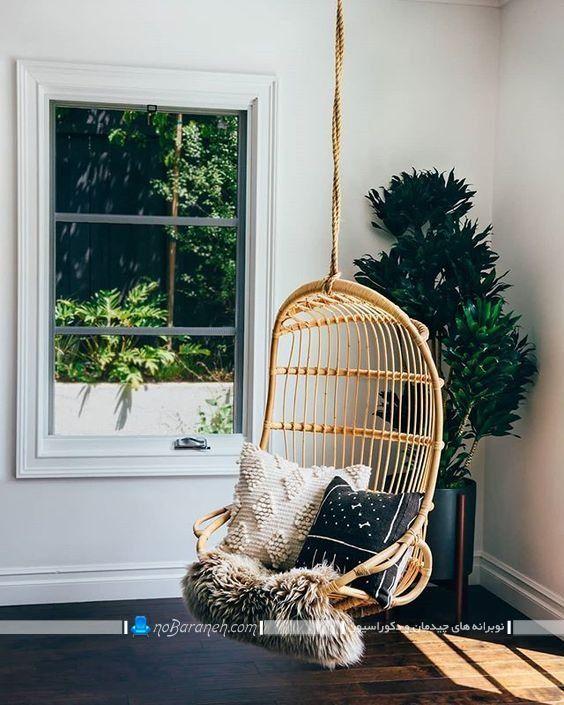 صندلی آویز تخم مرغی با جنس بامبو ، مبل بامبو حصیری