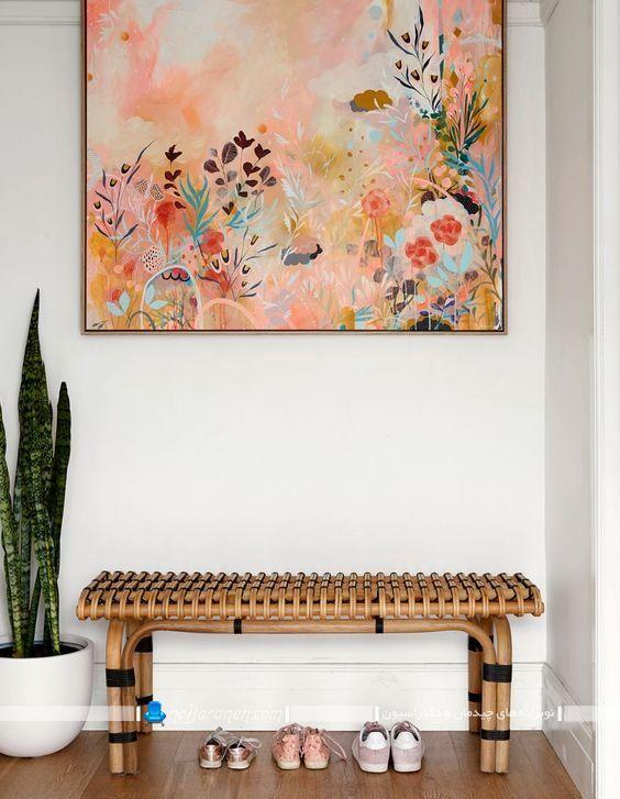 میز چوبی ظریف و فانتزی ساخته شده با چوب بامبو به شکل حصیری