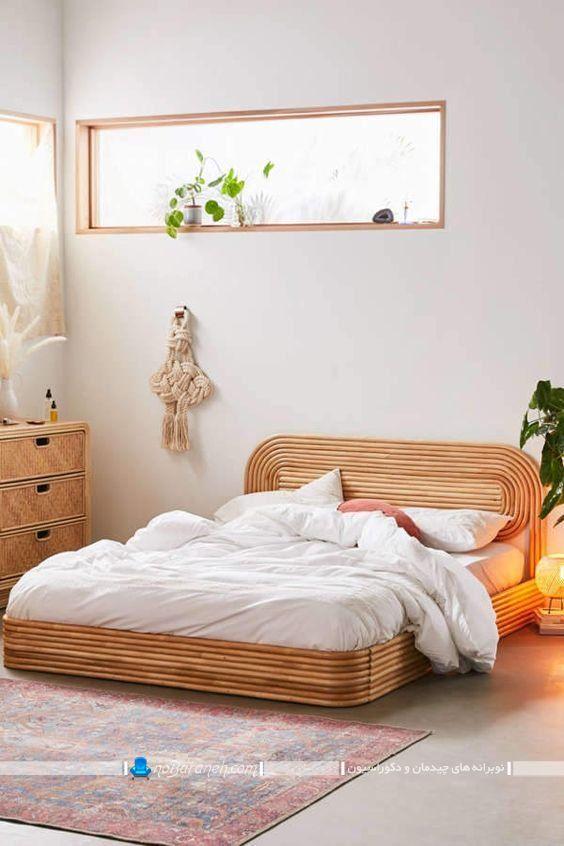 تخت خواب چوبی ساخته شده با بامبو ، مبل بامبو حصیری
