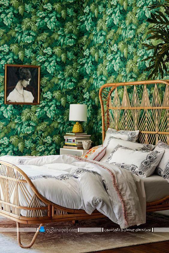 مدل جدید تخت سرویس خواب دو نفره بامبو حصیری طرح شیک فانتزی مدرن.