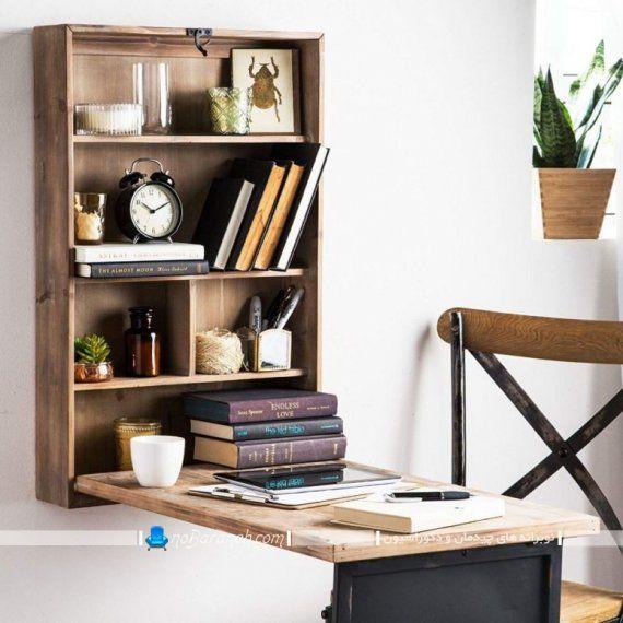میز تحریر کوچک و دیواری شیک و مدرن به شکل کم جا ، میز تحریر دیواری کلاسیک کمجا با طراحی تاشو