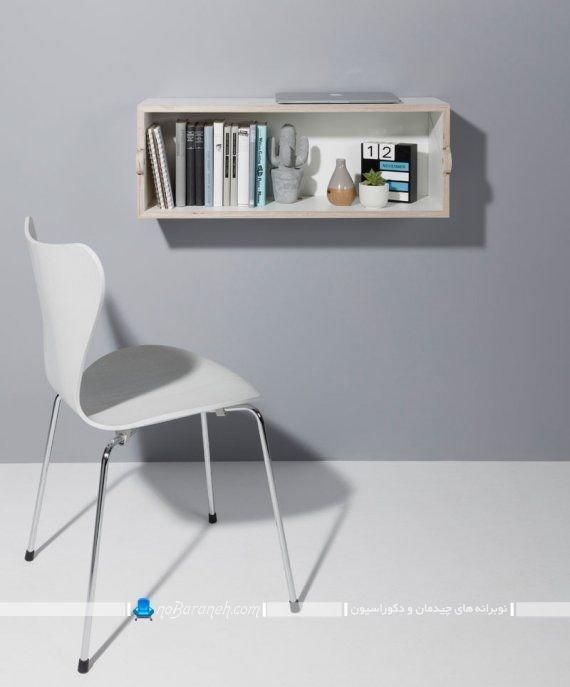 کتابخانه و میز تحریر کمجا چوبی دیواری مدل جدید عکس