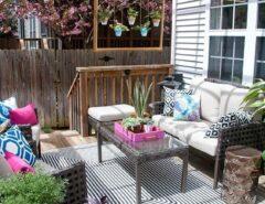 نشیمن فضای باز حیاط باغ چیدمان مبل خانه ویلایی ، مبلمان فضای باز ، چیدمان مبل در تراس و بالکن