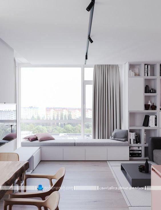 دکوراسیون پنجره اتاق پذیرایی و تبدیل آن به کاناپه راحتی مدرن شیک در مدلهای متنوع. تزیین و چیدمان اطراف پنجره دوجداره