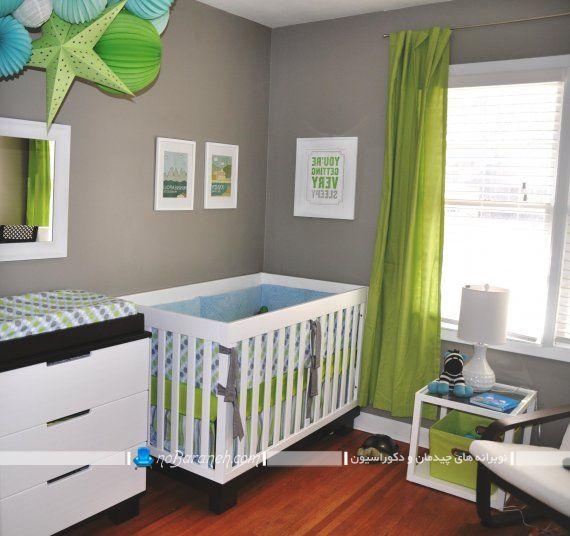 پرده ساده ارزان قیمت اتاق نوزاد رنگ بندی سبز شیک مدرن حریر. پرده حریر شیک ساده مدرن برای اتاق بچه های نوزاد