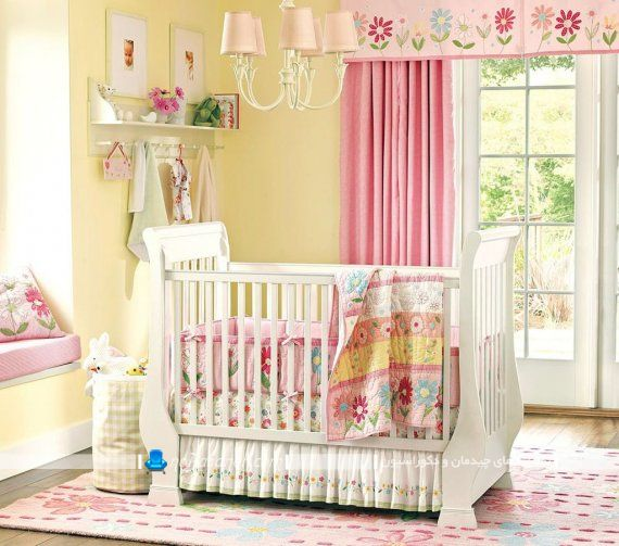 پرده اتاق بچه نوزاد با رنگ صورتی دخترانه با والان گل دار شیک مدرن زیبا فانتزی. پرده اتاق نوزاد در مدل های شیک فانتزی ساده مدرن