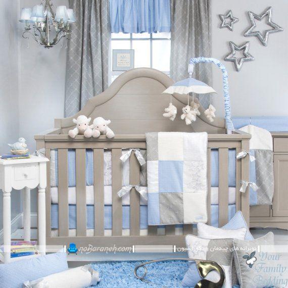پرده اتاق کودک بچه رنگ بندی خاکستری آبی شیک کلاسیک ساده مدرن سیسمونی نوزاد.