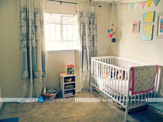 پرده اتاق کودک نوزاد دختر با رنگ بندی آبی در مدل ساده بچه گانه.
