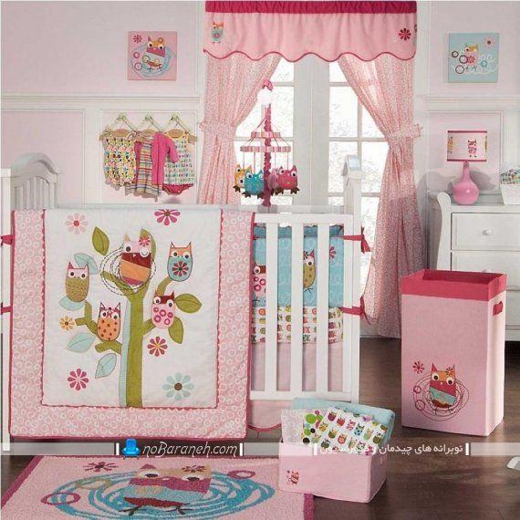 عکس مدل پرده اتاق کودک دختر نوزاد با رنگ صورتی برای دکوراسیون دخترانه. مدل پرده اتاق نوزاد با رنگ صورتی و والان دار