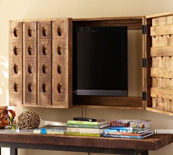 قاب چوبی کلاسیک برای تلویزیون دیواری ، مخفی سازی تلویزیون دیواری