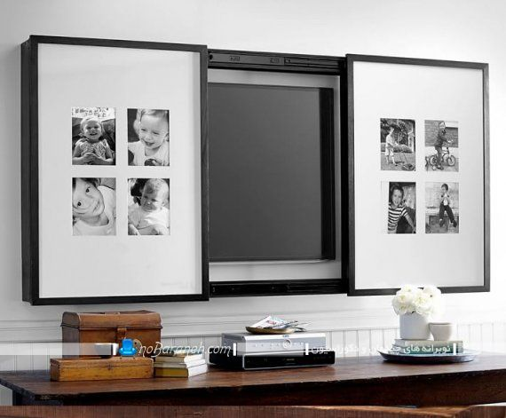 پنل چوبی و دکوراتیو به شکل قاب عکس برای مخفی سازی تلویزیون دیواری