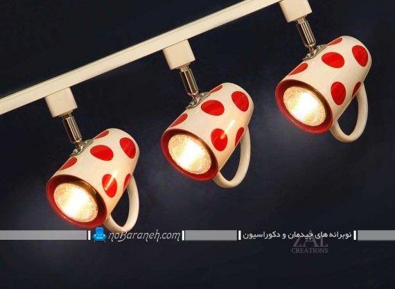 عکس مدل چراغ و لوستر شیک و فانتزی برای نورپردازی میز اپن و جزیره آشپزخانه.