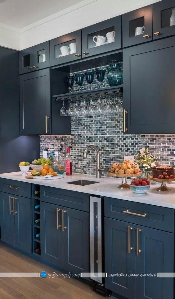 کابینت ممبران و کلاسیک آبی و سرمه ای رنگ ، دکوراسیون شیک کلاسیک آشپزخانه با آبی درباری و نفتی