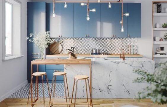 مدل کابینت آبی سرمه ای آشپزخانه (14)