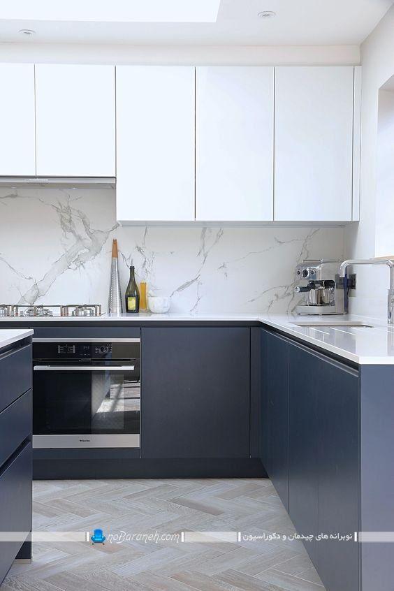 کابینت آبی سرمه ای و سفید آشپزخانه ، کابینت مدرن و شیک برای تزیین آشپزخانه ، کابینت بدون دستگیره یا با دستگیره مخفی