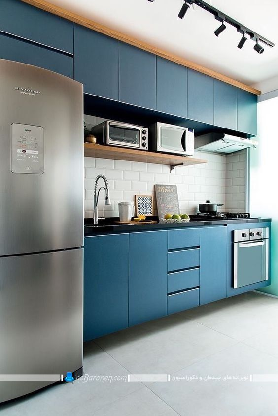 کابینت مدرن آبی رنگ درباری ، کابینت آبی رنگ شیک و ساده و مدرن برای آشپزخانه اپن