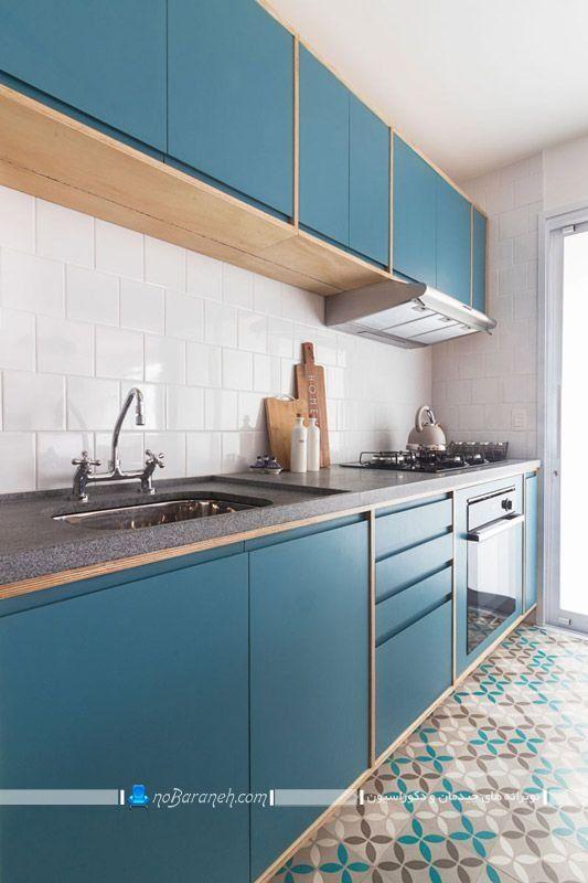 کابینت آبی فیروزه ای و کاربنی ، کابینت شیک مدرن آبی رنگ با بدنه چوبی ، دکوراسیون شیک آشپزخانه با رنگ فیروزه ای و سفید
