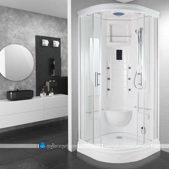 کابین دوش خارجی ماساژور دار روکار با درب ریلی شیشه ای مناسب سرویس بهداشتی مدرن با طراحی جدیدترین مدل کابین دوش.