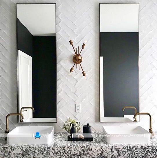 کاشی سرامیک حمام و دستشویی برای تزیین شیک دیوارهای سرویس بهداشتی. عکس مدل های جدید آینه دیواری برای دکوراسیون مدرن فانتزی سرویس بهداشتی.