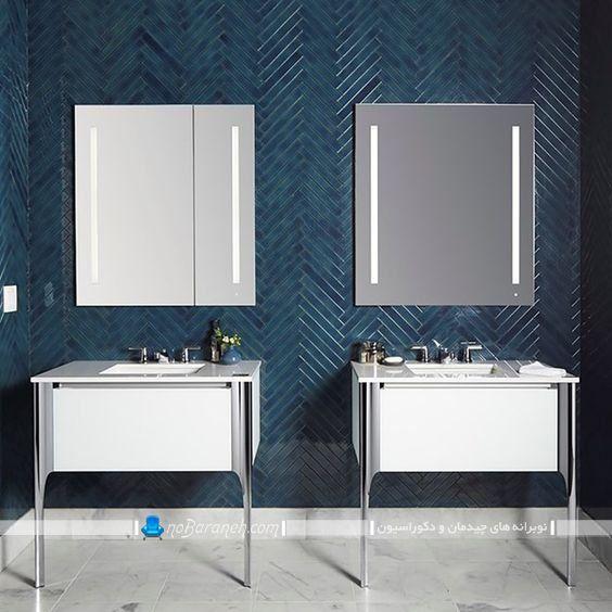 کاشی تزیینی شیک حمام و توالت با رنگ آبی درباری سرمه ای با طرح فانتزی مدرن برای دیزاین 2020 سرویس بهداشتی.