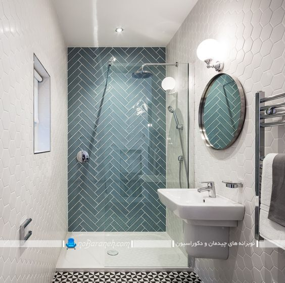 کاشی دیواری سرویس بهداشتی طرح جدید شیک مدرن مناسب حمام توالت روشویی با عکس رنگ سبز.