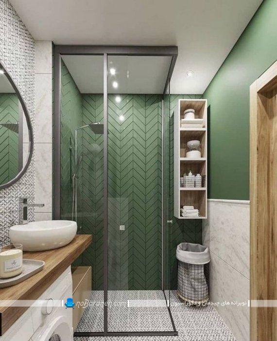 سرامیک حمام و دستشویی در مدل های فانتزی شیک مدرن با رنگ سبز با طرح جدید برای تزیین سرویس بهداشتی.