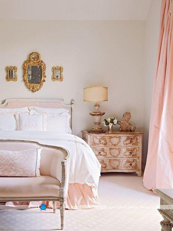 دکوراسیون پاریسی اتاق خواب با رنگ صورتی