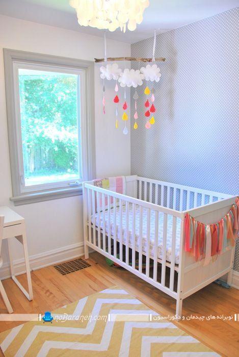 عکس مدل تخت کودک نوزاد پسر از برند ایکیا ikea ، مدل چیدمان تخت خواب نوزاد در مدلهای ساده مدرن شیک با رنگ سفید ، چیدمان ساده اتاق خواب کودک