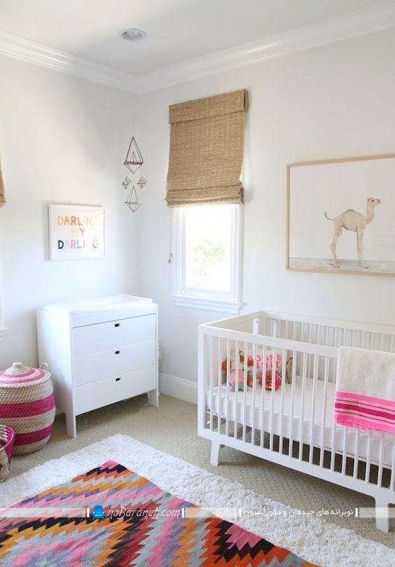تخت و کمد نوزاد در مدل های ساده شیک مدرن ، دیزاین و دکوراسیون اتاق نوزاد با سیسمونی سفید رنگ، تزیینات شیک و مدرن برای اتاق کودک دختر پسر