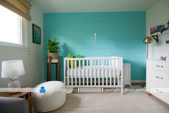 دکوراسیون اتاق نوزاد با رنگ سفید و سبز