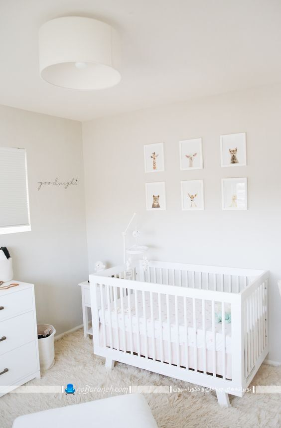 تخت و کمد نوزاد ارزان قیمت برای اتاق کودک و بچه ، عکس مدل های جدید سرویس خواب و سیسمونی نوزاد ، تزیین دیوار اتاق بچه با تابلو دکوراتیو تزیینی مدرن شیک