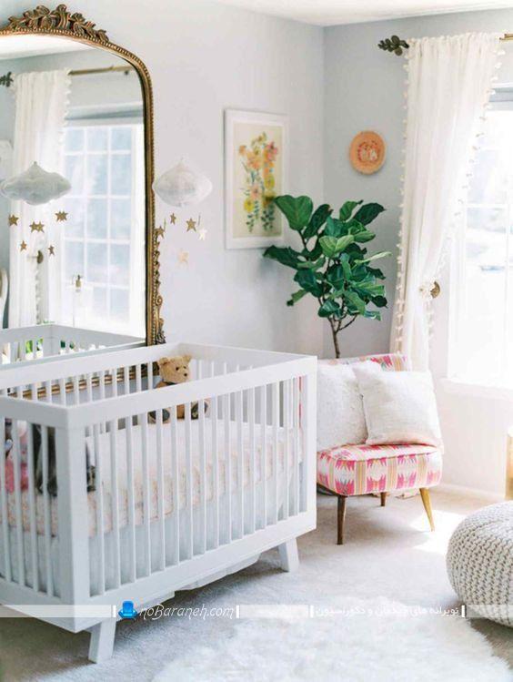 تخت نوزاد ایکیا در طرح ساده دخترانه و پسرانه با رنگ سفید شیک مدرن فانتزی چوبی. دکوراسیون زیبا برای اتاق نوزاد دختر با هزینه کم و ارزان قیمت.