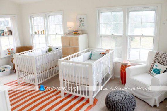 تخت نوزاد دو قلو ایکیا با طراحی شیک و مدرن برای تزیین دکوراسیون اتاق بچه. مدل چیدمان تخت نوزاد در اتاق خواب کودک دو قلو به همراه تصویر.