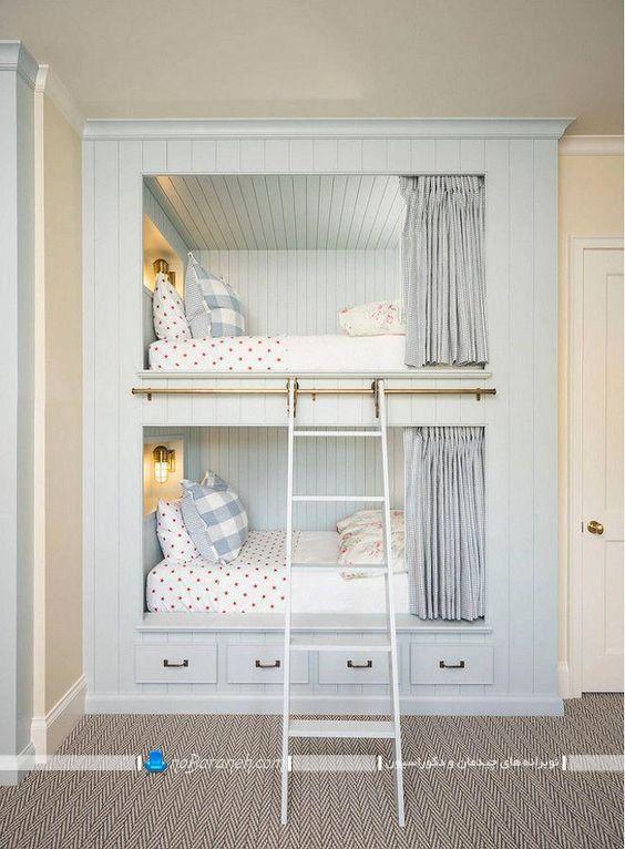 مدل جدید تخت خواب کودک دو طبقه با طراحی ثابت