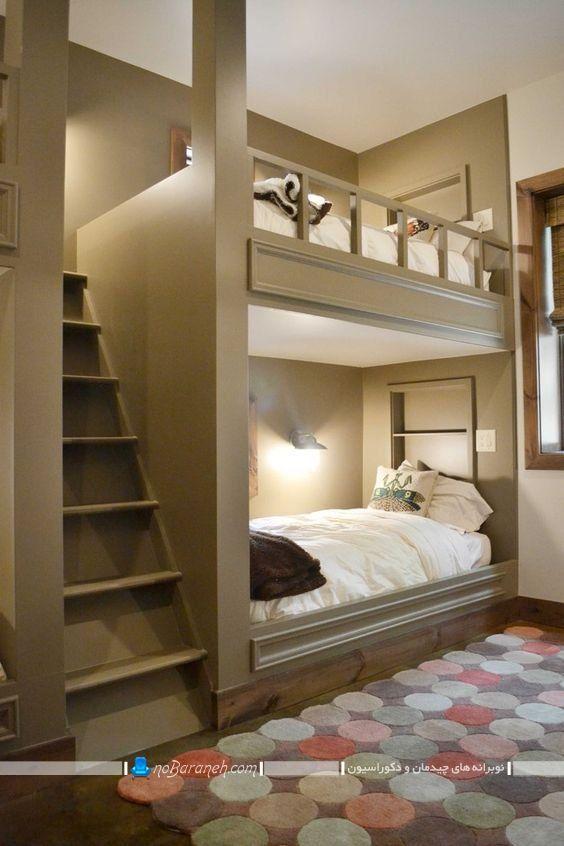 تخت دو طبقه کودک نردبان دار با مدلهای متنوع و زیبا برای اتاق نوجوانان / عکس