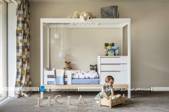 تخت خواب کودک و نوزاد و نوجوان . مدل مبل اتاق کودک دختر که شامل کمد و باکس تخت خواب می شود و طراحی شیک مدرن جدید دارد