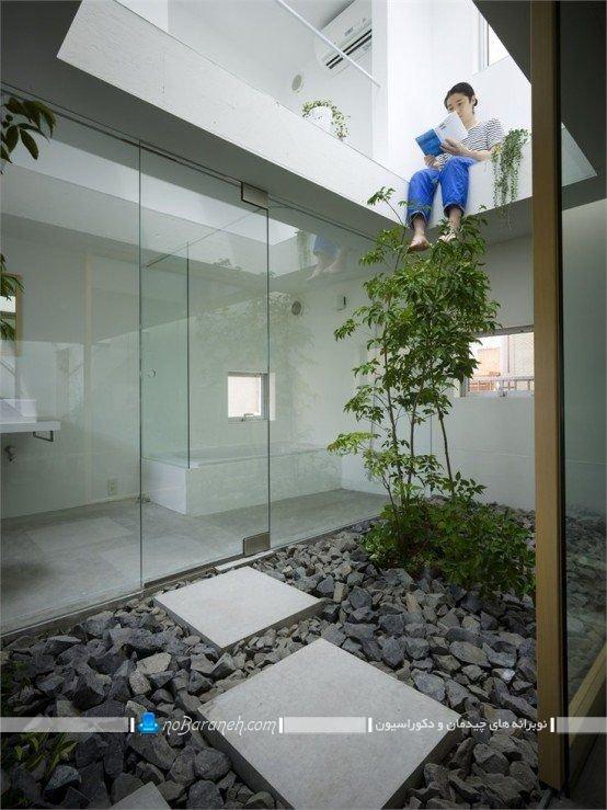 تزیین حیاط خلوت با گل و گیاه ، عکس مدل دیزاین و دکوراسیون حیاط خلوت با سنگ های تزیینی و گیاهان آپارتمانی