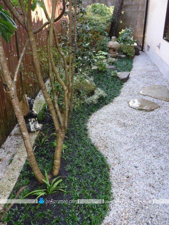 طراحی حیاط خلوت با باغچه و چوب بامبو ، دیزاین پاسیو خانه و منزل با باغچه و فضای سبز زیبا