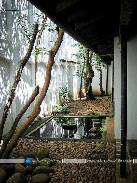 دکوراسیون حیاط خلوت خیلی کوچک ، عکس مدل تزیین و دکوراسیون حیاط خلوت و پاسیو با آبنما و گیاهان زینتی