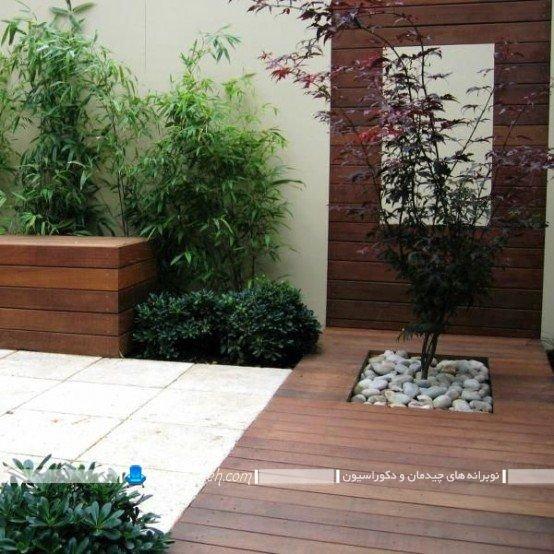 حیاط خلوت سنتی و چوبی با طراحی دکوراسیون زیبا ، عکس مدل های دیزاین و تزیین پاسیو و حیاط خلوت با گیاهان و سنگ های زینتی