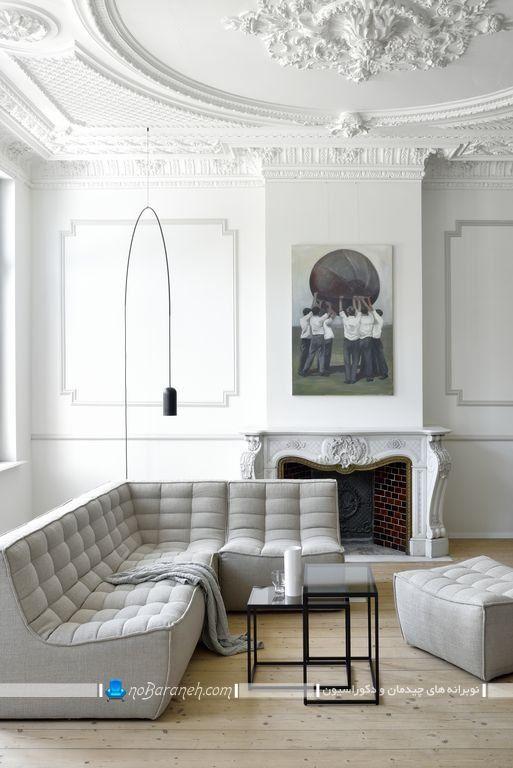 دیزاین پاریسی و فرانسوی اتاق پذیرایی با رنگ سفید و ساده به سبک سنتی و کلاسیک با عکس.