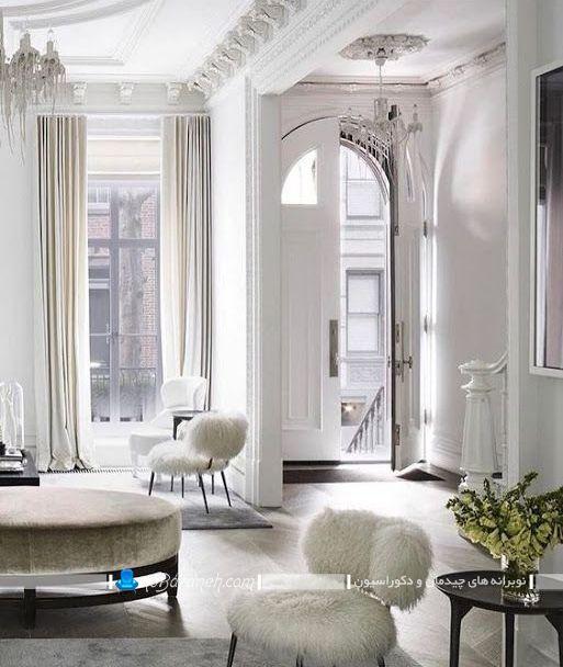 دکوراسیون اتاق پذیرایی کلاسیک شیک با رنگ سفید برای پذیرایی های بزرگ به همراه نمونه مدل و تصویر.