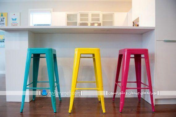 صندلی اپن پلاستیکی ارزان قیمت تک نفره رنگارنگ برای میز اپن چوبی به همراه عکس.